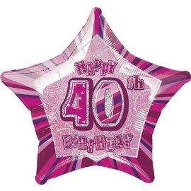 "Foil Balloon - Star - Happy 40th birthday - Pink - 20"""