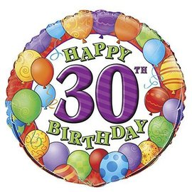 "Foil Balloon - 30th Birthday Balloons - 18"""