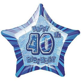 "Foil Balloon - Star - Happy 40th Birthday - 20"""