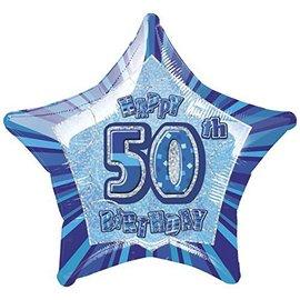 "Foil Balloon - Star - Happy 50th Birthday - Blue - 20"""