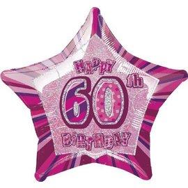 "Foil Balloon - Star - Happy 60th birthday - Pink - 20"""