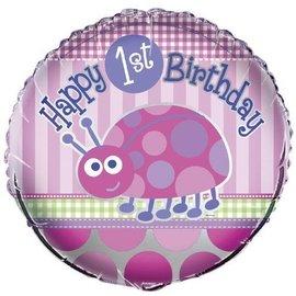 "Foil Balloon - 1st Birthday Ladybug - pink - 18"""