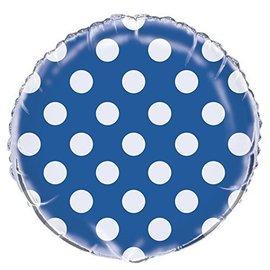 """Foil Balloon - Dots - Royal Blue - 18"""""""