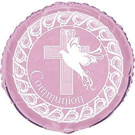 "Foil Balloon - Dove Cross Communion - Pink - 18"""