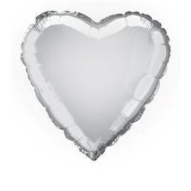 Foil Balloon - Heart - Silver - 18''