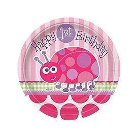 Plates-Bev-First Birthday Ladybug-8pk-Paper