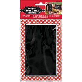 Chalkboard Tent Cards-Red Gingham-paper-8pk/6''