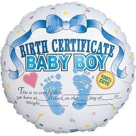 "Foil Balloon - Baby Boy Birth Certificate - 18"""