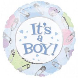"""Foil Balloon - It's a Boy Pins and Dots - 18"""""""