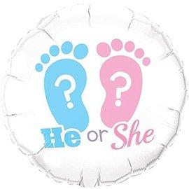 "Foil Balloon - He or She Footprints - 18"""