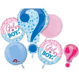 Foil Balloon Bouquet - Girl or Boy? Gender Reveal - 5 Balloons - 2.3ft