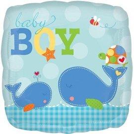 """Foil Balloon - Baby Boy Whale - 18"""""""