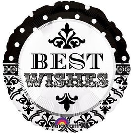 Foil Balloon - Best Wishes Damask Dots - 18""
