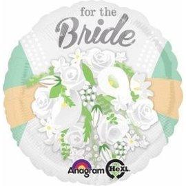 "Foil Balloon - For the Bride White Flowers - 18"""