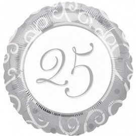 Foil Balloon - Silver 25th Anniversary - 18""