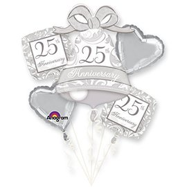 "Foil Balloon Bouquet - Silver 25th Anniversary - 5 Balloons - 18""-27"""