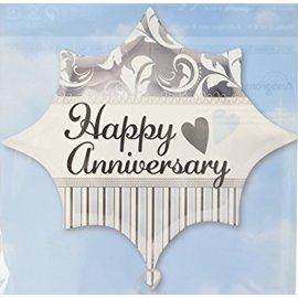 "Foil Balloon - Elegant Happy Anniversary - 17""x19"""