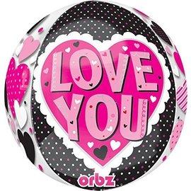 "Foil Balloon Orbz - Love You Hearts - 15""x16"""
