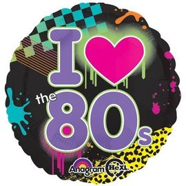 Foil Balloon - I Love the 80's - 18""