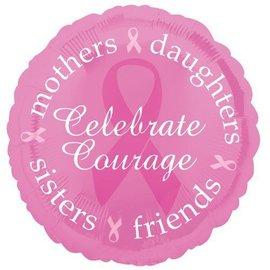 "Foil Balloon - Celebrate Courage Pink Ribbon - 18"""
