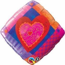 """Foil Balloon - Heart Accent Patterns - 18"""""""
