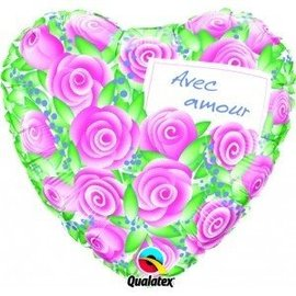 "Foil Balloon - Avec Amour Pink Roses - 18"""