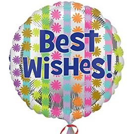 """Foil Balloon - Bright Best Wishes - 18"""""""