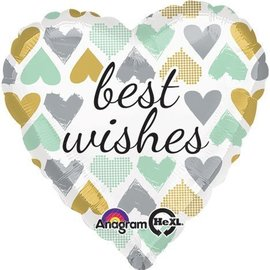 Foil Balloon - Best Wishes Hearts - 18""