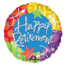 "Foil Balloon - Jumbo - Happy Retirement Dots and Stars - 32"""