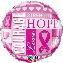 Foil Balloon - Pink Ribbon Courage - 18""