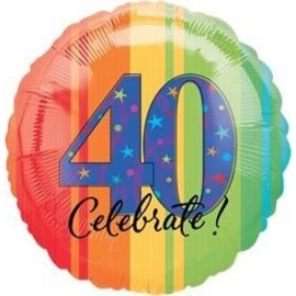 """Foil Balloon - Celebrate 40 Aged to Perfection - 18"""""""