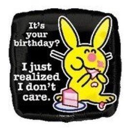 "Foil Balloon - Happy Bunny Birthday - 18"""