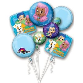 Foil Balloon Bouquet - Bubble Guppies Birthday - 5 Balloons - 2.3ft