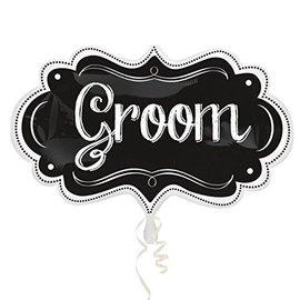 """Foil Balloon - Groom Chalkboard - 16""""x27"""""""
