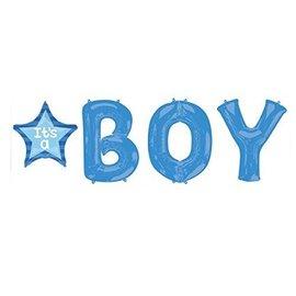 Foil Balloon - Letter Bunch - It's a Boy Blue - 4 Balloons - 8.2ft