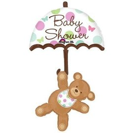 "Foil Balloon - Baby Shower Umbrella and Bear - 24""x49"""