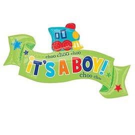 """Foil Balloon - It's a Boy Choo Choo Train - 40""""x22"""""""