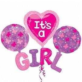 """Foil Balloon - It's a Girl Butterflies - 51""""x40"""""""