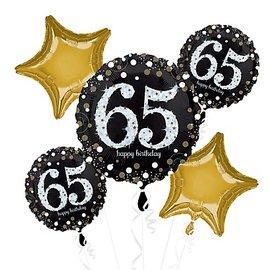 Foil Balloon Bouquet - 65th Birthday Sparkle - 5 Balloons - 2.3ft