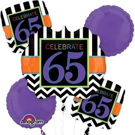 Foil Balloon Bouquet - Celebrate 65 Chevron - 5 Balloon - 2.1ft