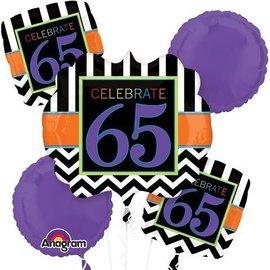 Foil Balloon Bouquet - Celebrate 65 Chevron - 5 Balloon - 2.1ft
