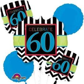 Foil Balloon Bouquet - Celebrate 60 Chevron - 5 Balloons - 2.1ft