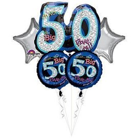 Foil Balloon Bouquet - Oh No the Big 50 - 5 Balloons - 2.2ft