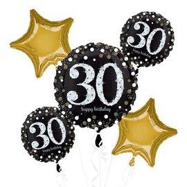 Foil Balloon Bouquet - 30th Birthday Sparkle - 5 Balloons - 2.3ft