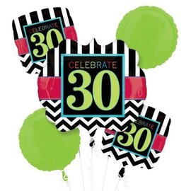 Foil Balloon Bouquet - Celebrate 30 Chevron - 5 Balloons - 2.1ft