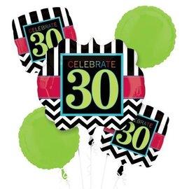 Foil Balloon Bouquet - Celebrate 30 Chevron - 5 Balloons - 2.1ft