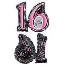 "Foil Balloon - Sweet 16 - 26""x28"""