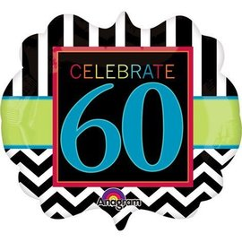 "Foil Balloon - Celebrate 60 Chevron - 25""x22"""
