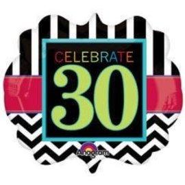 "Foil Balloon - Celebrate 30 Chevron - 25""x22"""