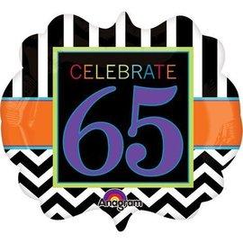 "Foil Balloon - Celebrate 65 Chevron - 25""x22"""